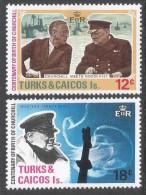 Turks & Caicos Islands. 1974 Birth Centenary Of Sir Winston Churchill. MH Complete Set. SG 430-431 - Turks And Caicos