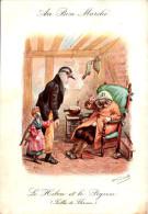 Chromo Au Bon Marché - Fables De Florian - Le Hibou Et Le Pigeon - Au Bon Marché