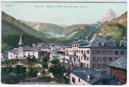 Switzerland Schweiz Suisse Svizzera 1911 Zermatt, Hotel Du Mont Rose Et Mont Cervin, Sent To Riga Latvia - VS Valais