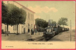 CPA 21 TIL CHATEL La Gare  ( Gros Plan Train  Locomotive  Tilchatel Près IS SUR TILLE - France