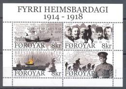Faroe Islands - 2014 First World War Block MNH__(TH-13607) - Faeroër