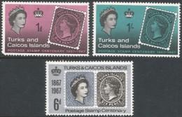 Turks & Caicos Islands. 1967 Stamp Centenary. MH Complete Set. SG 288-290 - Turks And Caicos