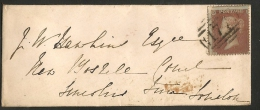 UK - 1854 Very Small COVER Tied By 1p Red Severely Misplaced -back MONTEPELIER CDS And Royal Orange - Lettres & Documents
