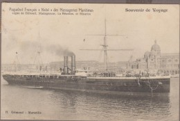 Paquebot NATAL  Messageries Maritimes ...1908 Verso Cachet Octogonal MARSEILLE A LA REUNION  1° L.U.N°1-1908 - Paquebots