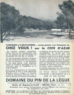 Ancienne Publicite (1962) : Camping-Caravaning, Domaine Du Pin De La Lègue, Fréjus (Var), Bagnols-en-Forêt, Piscine... - Publicidad