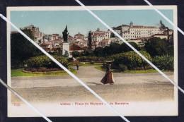 LISBOA Marquez Sá Da Bandeira Place Garden Women Seller Fish Costume View Statuary 1900-20's Mint Postcard Portugal 5729 - Lisboa