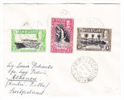 St. Lucia Catries 3 Farben Frankatur Brief Mit Ankunfts Stempel Altanca TI 16.1.1939 - Ste Lucie (...-1978)