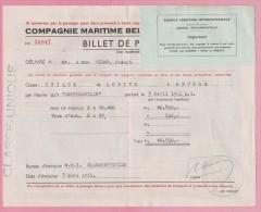 CONGO - 1961 - Billet De Passage - Compagnie Maritime - De LOBITO à ANVERS Sur Le Navire  LEOPOLDVILLE. Brrrrr - Documents Historiques