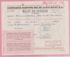 CONGO - 1961 - Billet De Passage - Compagnie Maritime - D´Anvers à LOBITO Sur Le Navire  CHARLESVILLE. Brrrrr - Documents Historiques
