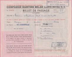 CONGO - 1957 - Billet De Passage - Compagnie Maritime - D´Anvers à LOBITO Sur Le Navire  ALBERTVILLE. Brrrrr - Documents Historiques