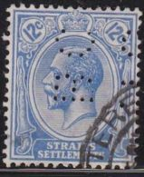STRAITS SETTLEMENTS  Perfin B C In 1919 King George V 12 C Blue SG 232 - Groot-Brittannië (oude Kolonies En Protectoraten)
