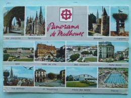 V08-68-B-haut Rhin--panorama De Mulhouse--mur D'enceinte-st Etienne-bollwerk-gare-h.ville-bat. Annulaire-p.jeune-piscine - Mulhouse