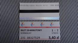 Bus Ticket From Poland - Warsaw No 1 - Fahrkarte - Transportation