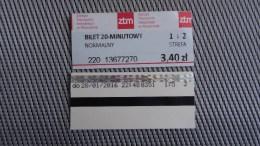 Bus Ticket From Poland - Warsaw No 2 - Fahrkarte - Transportation