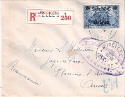 Timbre OC.9 Seul Sur Belle Petite Lettre Recom. D'Ixelles à Anvers En 1915 - Avec Marque De Censure Militaire RR(à Voir) - Guerre 14-18