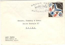 MON-L1 - MONACO N° 511 UNESCO Sur Lettre Flamme Du Grand Prix Automobile De Monte-Carlo 1958 - Cars