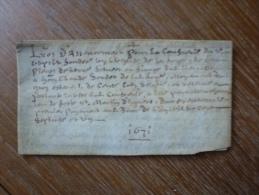 VELIN DATE DE 1671 - Manoscritti