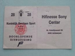 Koninklijk BERCHEM Sport Stamnr. 28 UITNODIGING Geuens Gi Jeugdspeler 1990-1991 Voetbal ( Details Zie Foto ) ! - Tickets - Vouchers
