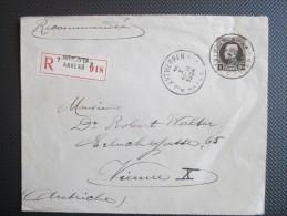 Nr 214 - Aangetekende Brief Uit Antwerpen 7 Naar Vienne X(Oostenrijk) - Vignet Op Achterzijde - 1922-1927 Houyoux