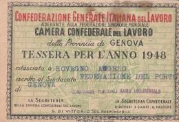 TESSERA C.G.I.L 1948 -FEDERAZIONE DEL PORTO - Pubblicitari