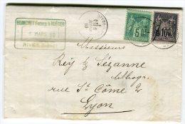 Lettre ( Avec Texte ) De Rive ( Isère ) Pour Lyon En 1880 Type Sage Bicolore   Référence 329 - Marcophilie (Lettres)