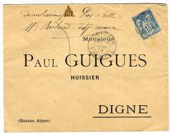 Enveloppe De Sisteron  Pour Digne En 1900  Type Sage   Référence 332 - Storia Postale