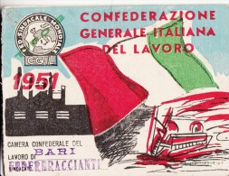 TESSERA C.G.I.L 1965 -FEDERAZIONE DEI PORTI - Pubblicitari