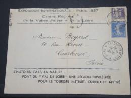 FRANCE - Env Souvenir Dépliante De L´Exposition De Paris 1937 (Pavillion De La Loire) - Pas Courant - Nov 1937 - P16700 - 1921-1960: Modern Period