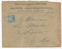 SAGE SUR LETTRE A EN TETE DE MANOSQUE (BASSES ALPES) DU 10/6/1899 - Marcofilia (sobres)