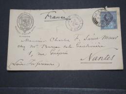 GRANDE BRETAGNE - Env Du Central Station Hôtel (Caledonian Railway) Pour Nantes - Août 1890  - P16701 - Marcophilie