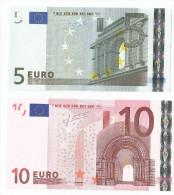 BANCONOTE DA 5 Euro K003 E 10 EURO K007 T IRLANDA TRICHET UNC RARE - CATALOGO 45 Euro - Unclassified