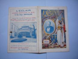 Rare Calendrier 1914 L'éclair Journal Quotidien Du Midi Montpellier - Small : 1901-20