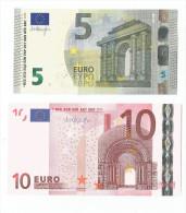 BANCONOTE DA 5 Euro TC T003 E 10 EURO T K007 IRLANDA  DRAGHI UNC RARE - CATALOGO 32 Euro - Unclassified