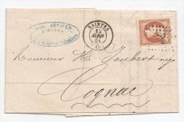 - Lettre - CHARENTE INFre - SAINTES PC.2776 S/TPND N°16 Bistre Orangé + Càd Type 15 - 1861 - 1853-1860 Napoleon III