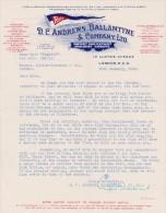 Lettre 1940 D C ANDREWS BALLANTYNE Import Export LONDON - Transport Bateau Baltimore Detroit Via New York - Royaume-Uni
