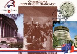 """Nelle Zélande 1989 Belle Carte """"Philexfrance89"""" Timbre Rond Kiwi 1 $ Cachet Du Stand Du Salon - Expositions Philatéliques"""