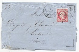 - Lettre - SEINE - PARIS Etoile N°1 S/TP Napoléon III N°24 + Càd   T.18 - 1867 - 1862 Napoleon III