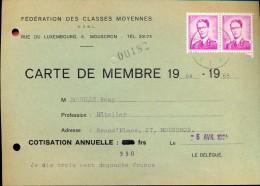 Carte Membre Fédération Des Classes Moyennes  Mouscron - Moeskroen 1964 - 1965 - Tickets - Entradas