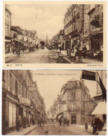 BRIVE - 2 CPA - Rue De L´ Hotl De Ville (Pharmacie) Avenue De Paris (Commerces)    (84604) - Brive La Gaillarde