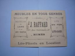 CDV Pub J. Raffard Meubles En Tous Genres Nimes Lits En Fer Lits Cages - Tarjetas De Visita