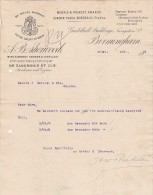Lettre 1911 A B SHERWOOD Wine & Brandy Grower & Distiller BIRMINGHAM - Cognac - Royaume-Uni