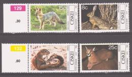 South Africa, Ciskei 1982 Südafrika, Ciskei Mi 30-33 Mammals / Säugetiere **/MNH - Timbres