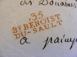 Lettre Avec Marque Postale St Benoist Du Sault 35 Rouge Indre Cachet Cire Adressée Receveur Douanes Impériale Paimpol M1 - Marcophilie (Lettres)