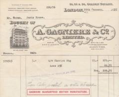 Facture 1935 A GAGNIERE Paris Bruxelles LONDON - Guaranted British Manufacture - Royaume-Uni