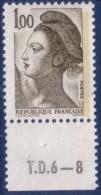 Liberté De Gandon 1,00 Olive Foncé (n°2185) Numéro De Presse TD6-8 - 1982-90 Liberté De Gandon