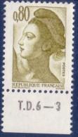 Liberté De Gandon 0,80 Brun Olive (n°2241) Numéro De Presse TD6-3 - 1982-90 Liberté De Gandon