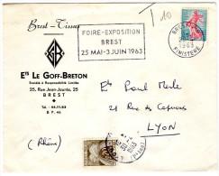 Lettre Taxée Du 29.4.1963. Semeuse De Roty Yv.1233 + 0.20 Gerbes Yv.TTx 92 - Poststempel (Briefe)