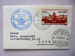 SUISSE / SCHWEIZ / SVIZZERA / SWITZERLAND // 1943, PRO AERO Sonderflug, BERN - ZÜRICH / Sondermarke - Primi Voli