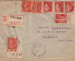 PYRENEES ORIENTALES - PRADES - LETTRE RECOMMANDEE POUR GENEVE - AVEC 50c PAIX DONT 1 AVEC BANDE PUB + SEMEUSE LE 1-2-33 - Postmark Collection (Covers)