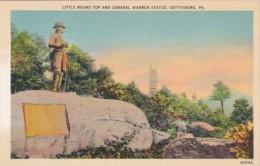 Little Round Top And General Warren Statue Gettysburg Pennsylvania - War Memorials